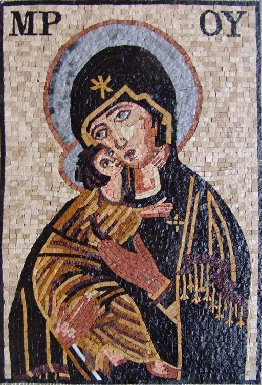 Mary and Jesus Mosaic Art