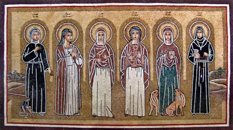Six Christian Saints Marble Mosaic Pic