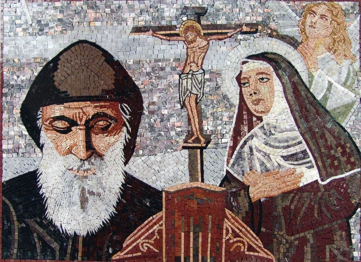Saint Charbel and Rita Icon Mosaic