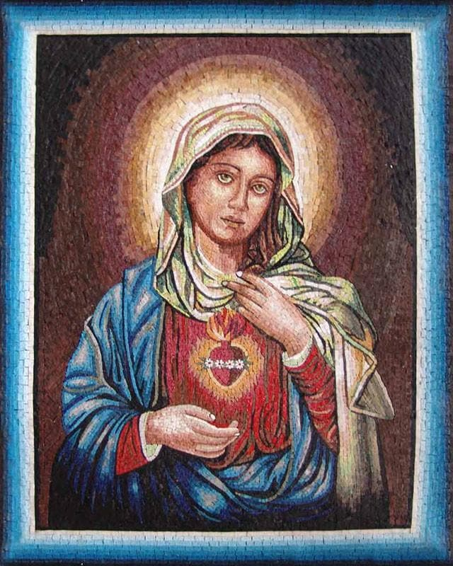 Blue Framed Mosaic Mother Of Jesus