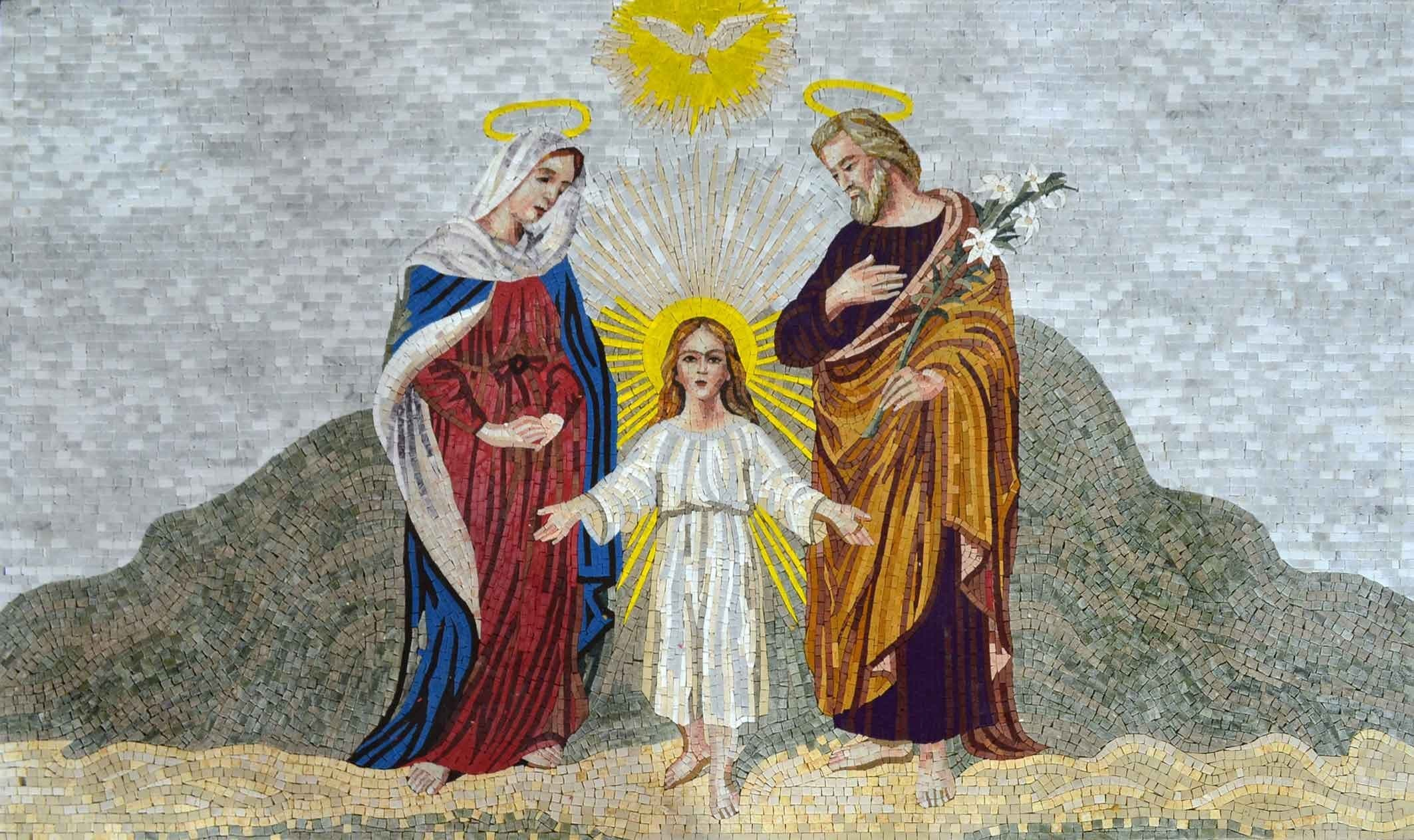 Jesus With Mary And Joseph Marble Mosaic Art Pic