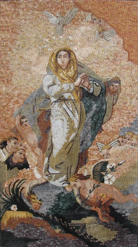 Mosaic Christian Icons Virgin Mary Of Mercy Pic