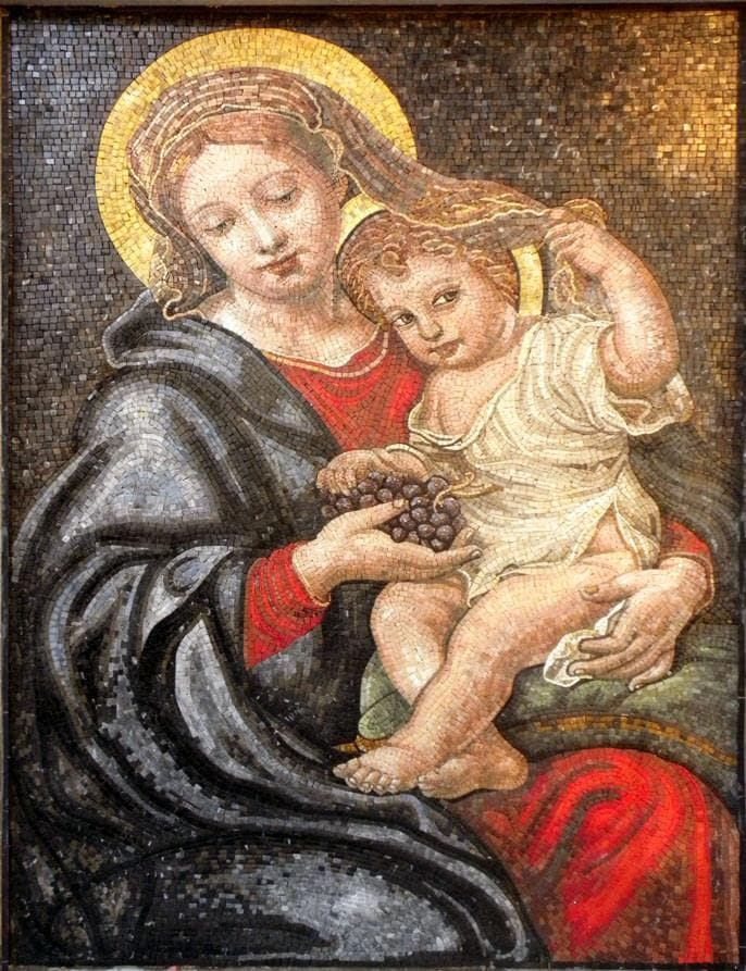 Jesus and Virgin Mary Marble Mosaic