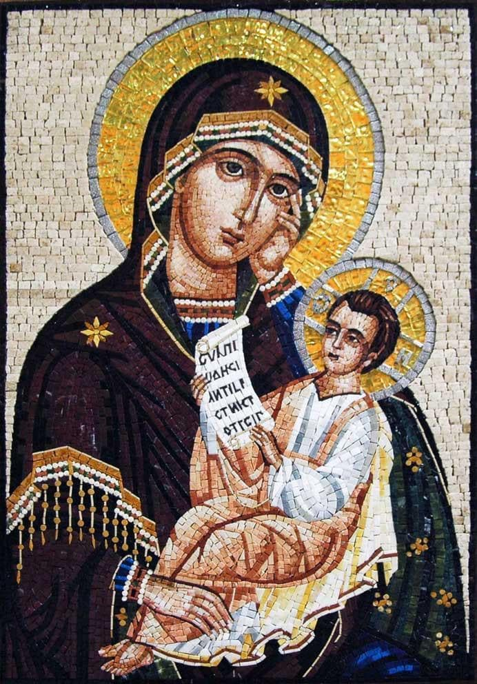 Compassionate Jesus and Marry Mosaic Icon