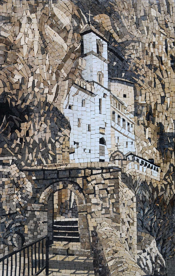 Church Carved in Rock Marble Mosaic