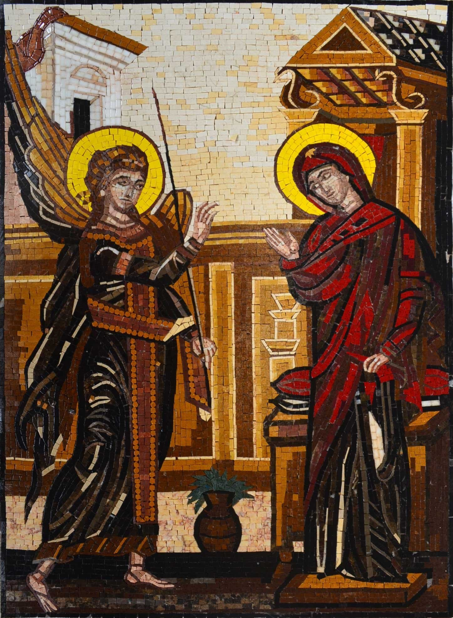 Dark Colors version of the Annunciation of Virgin Mary Mosaic