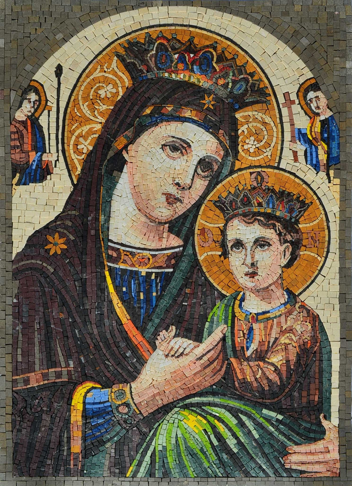 Iconic Mosaic Mural Of Virgin Mary And Jesus