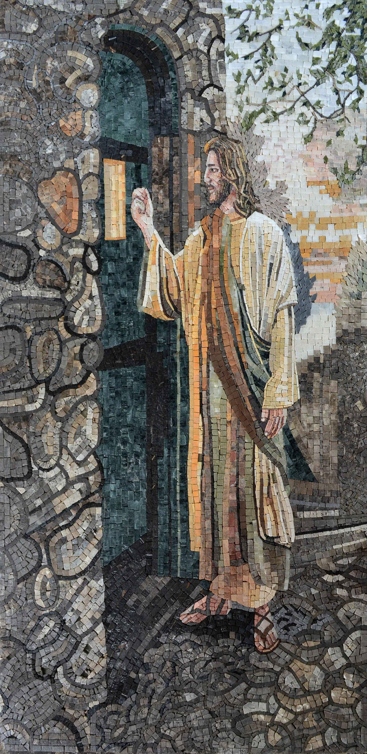 Handmade Mosaic of Jesus at the door
