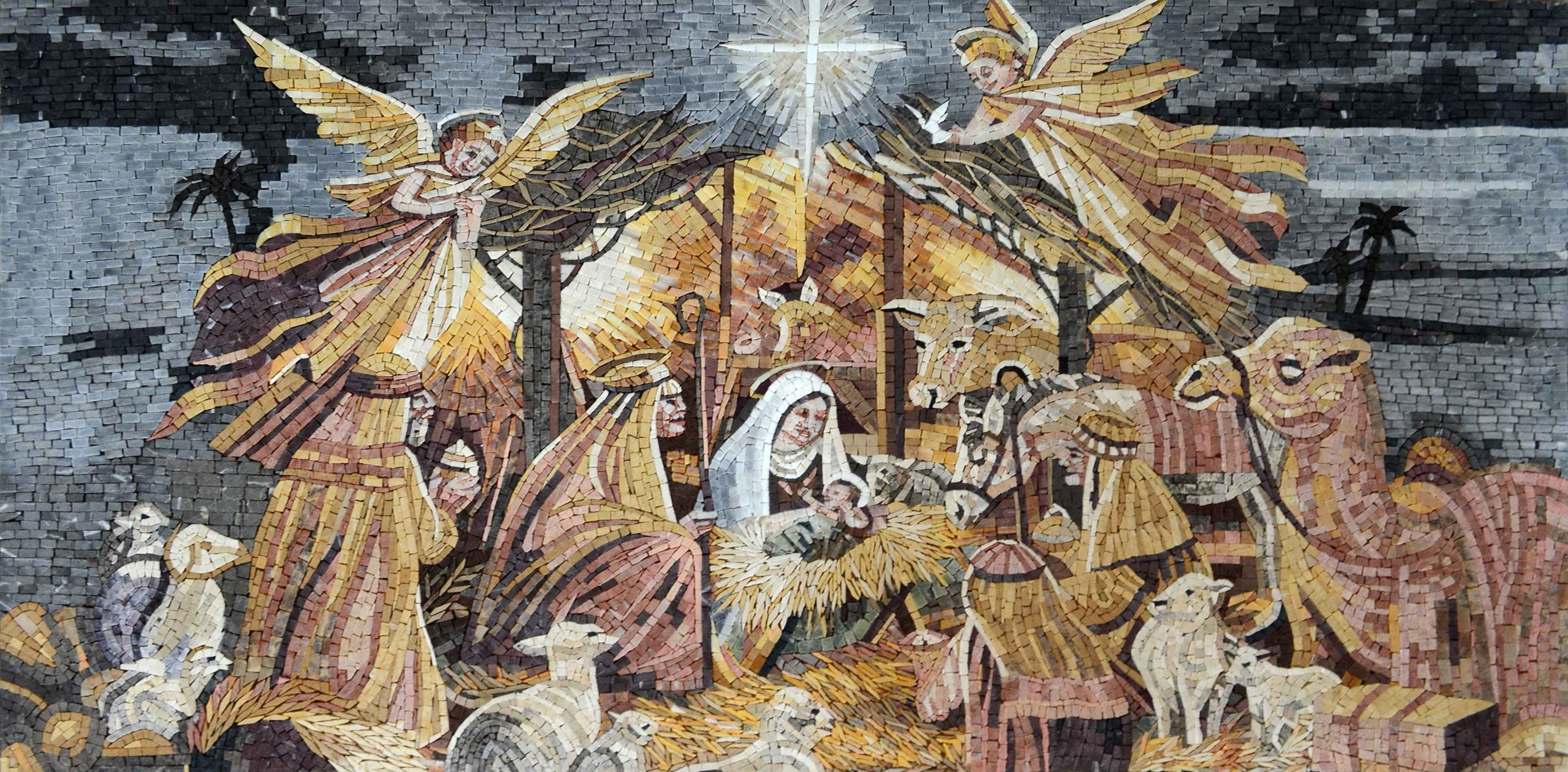 Nativity Of Jesus Christ Marble Mosaic Pic
