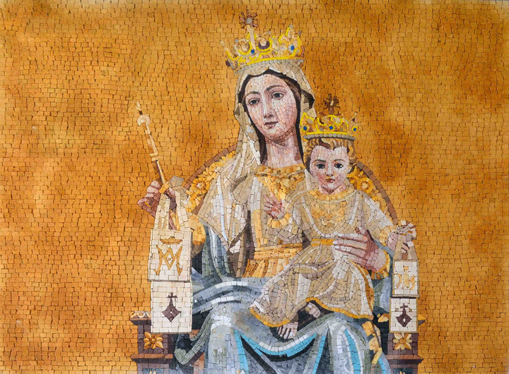 Mary of Mount Carmel Marble Mosaic Icon