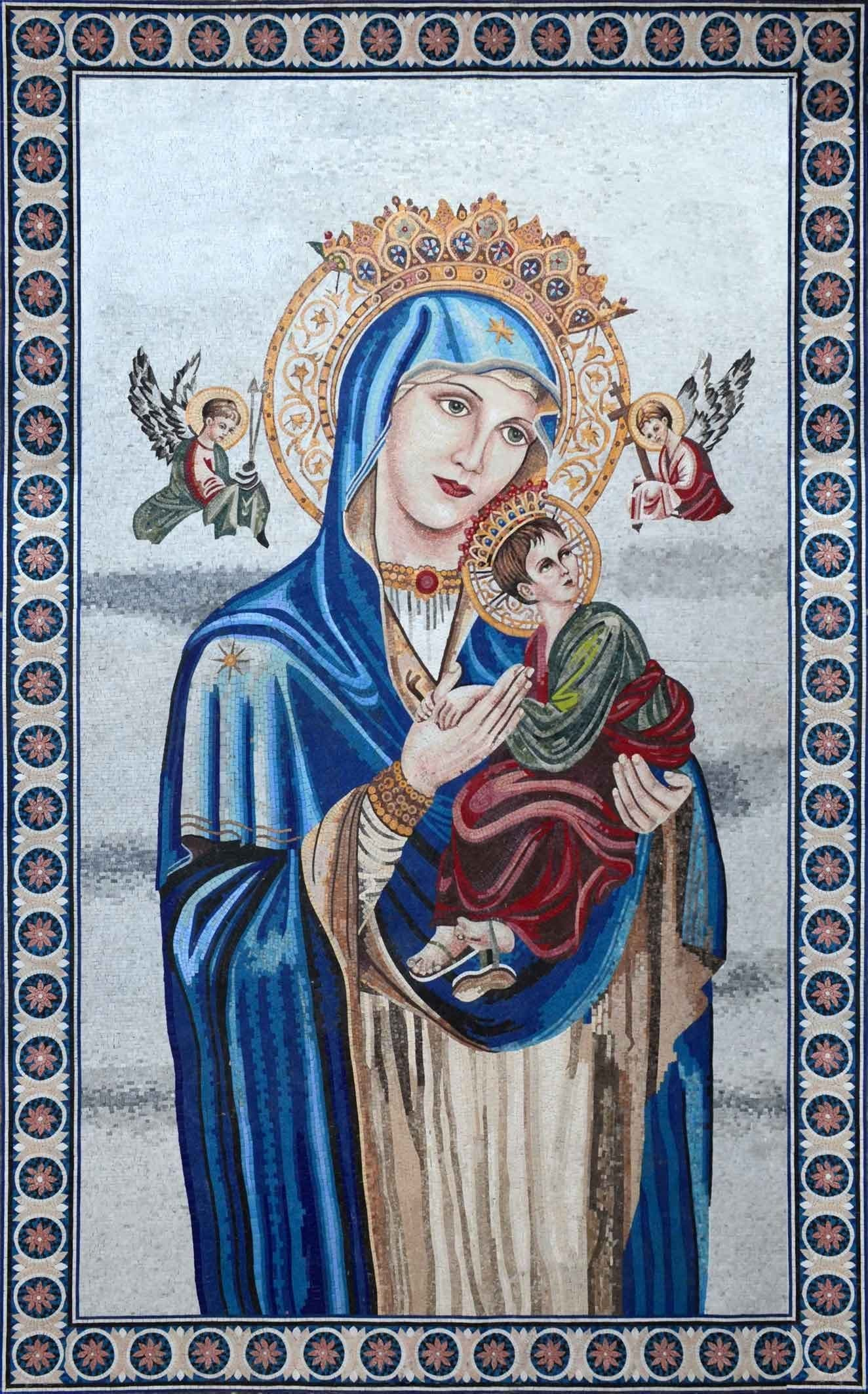 Baby Jesus And Virgin Mary Religious Mosaic Pic