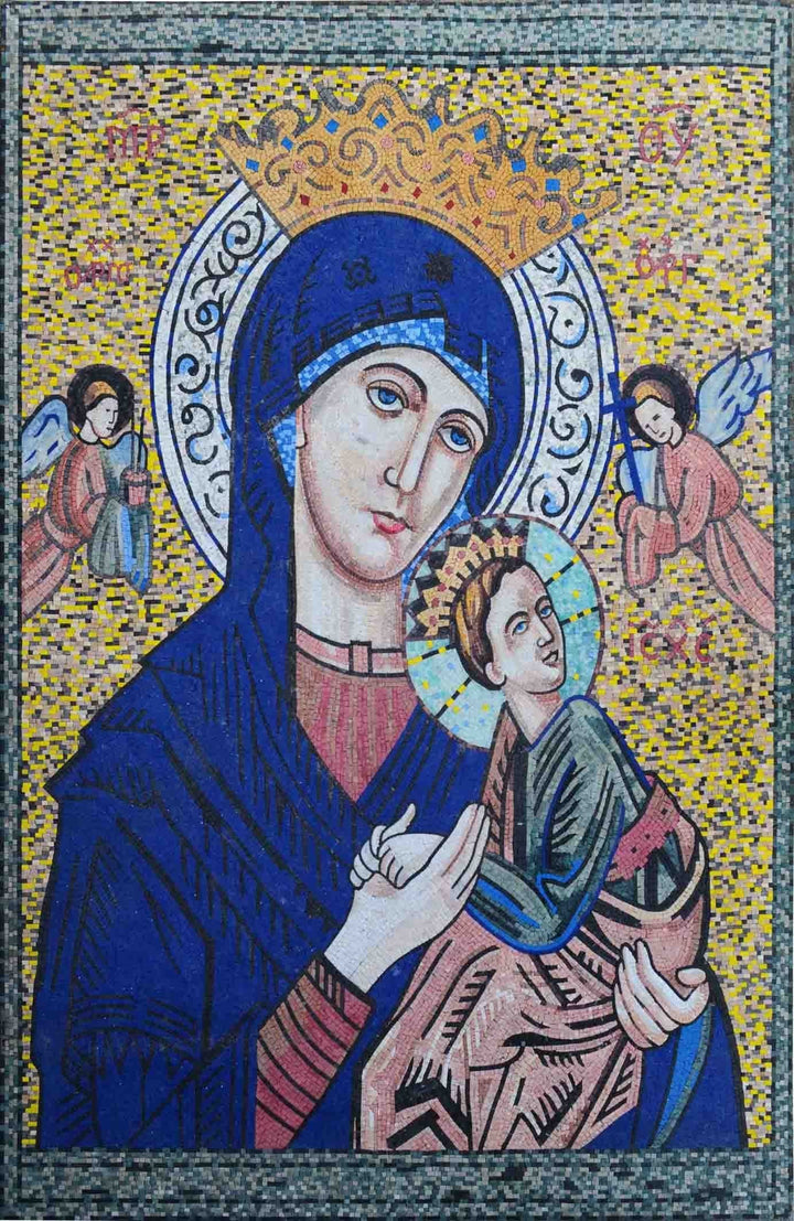 Baby Jesus and Virgin Mary Christian Mosaic Icon