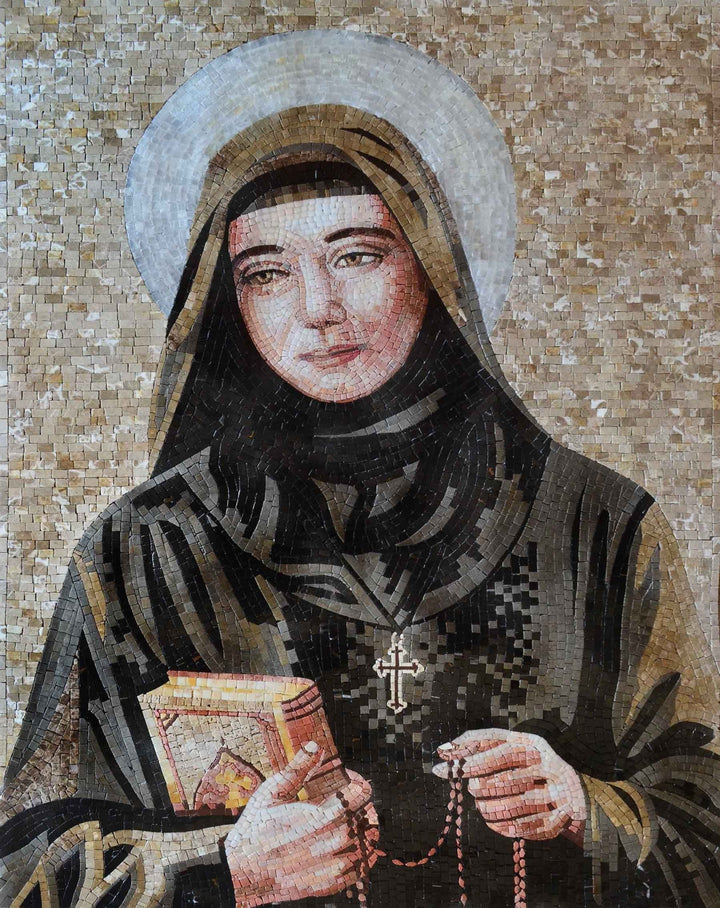 Saint Rafqa Maronite Religious Marble Mosaic Icon