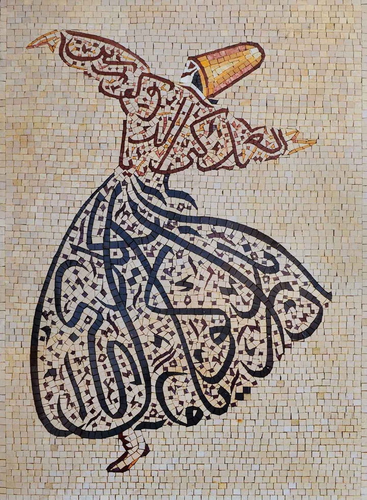 Islamic Calligraphy Folklore Figure Mosaic Design