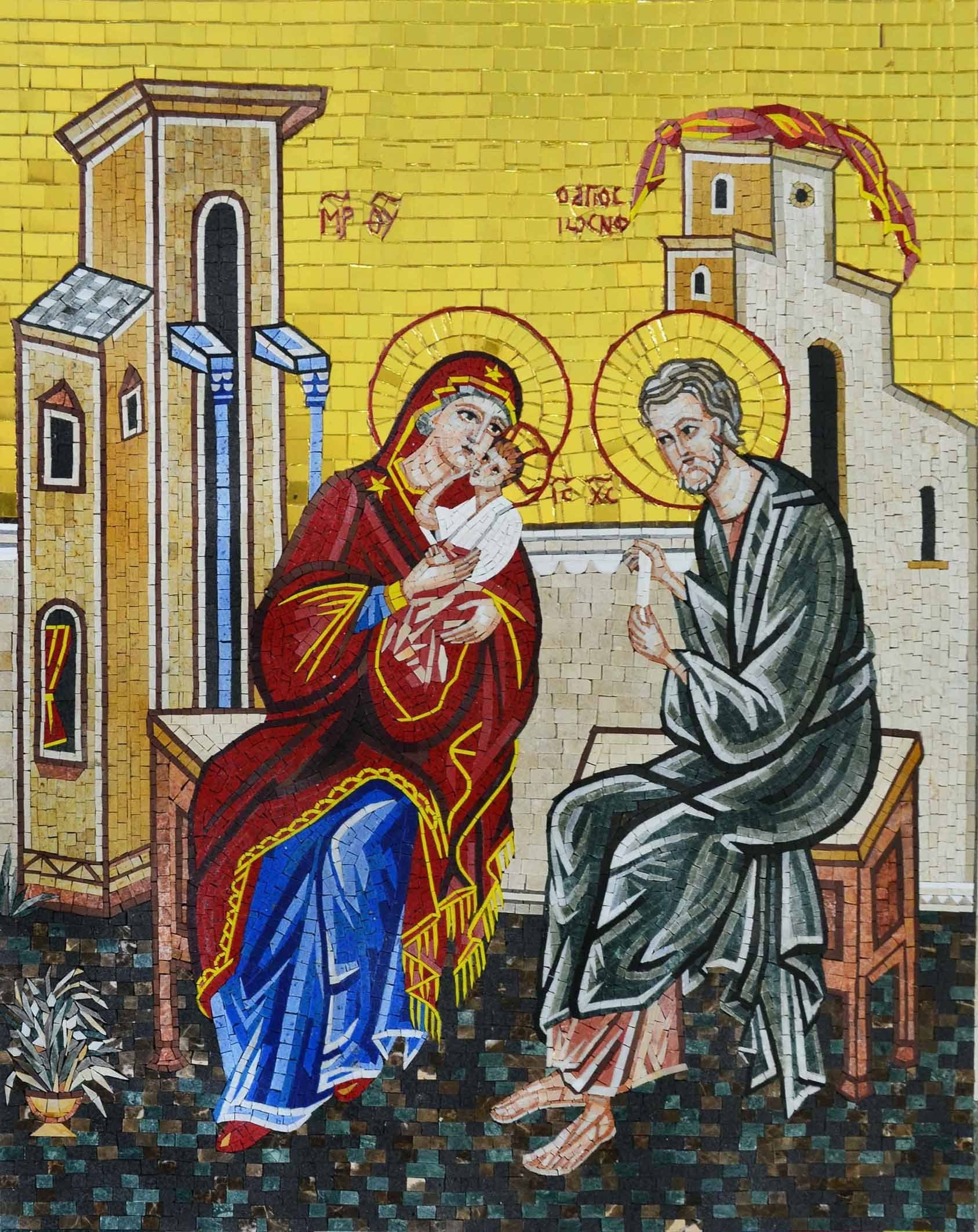 The Holy Family Religious Marble And Glass Mosaic Pic