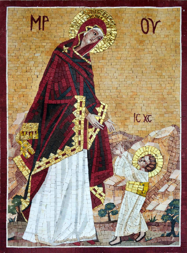 Christian Mosaic Art - A Virgin And Child