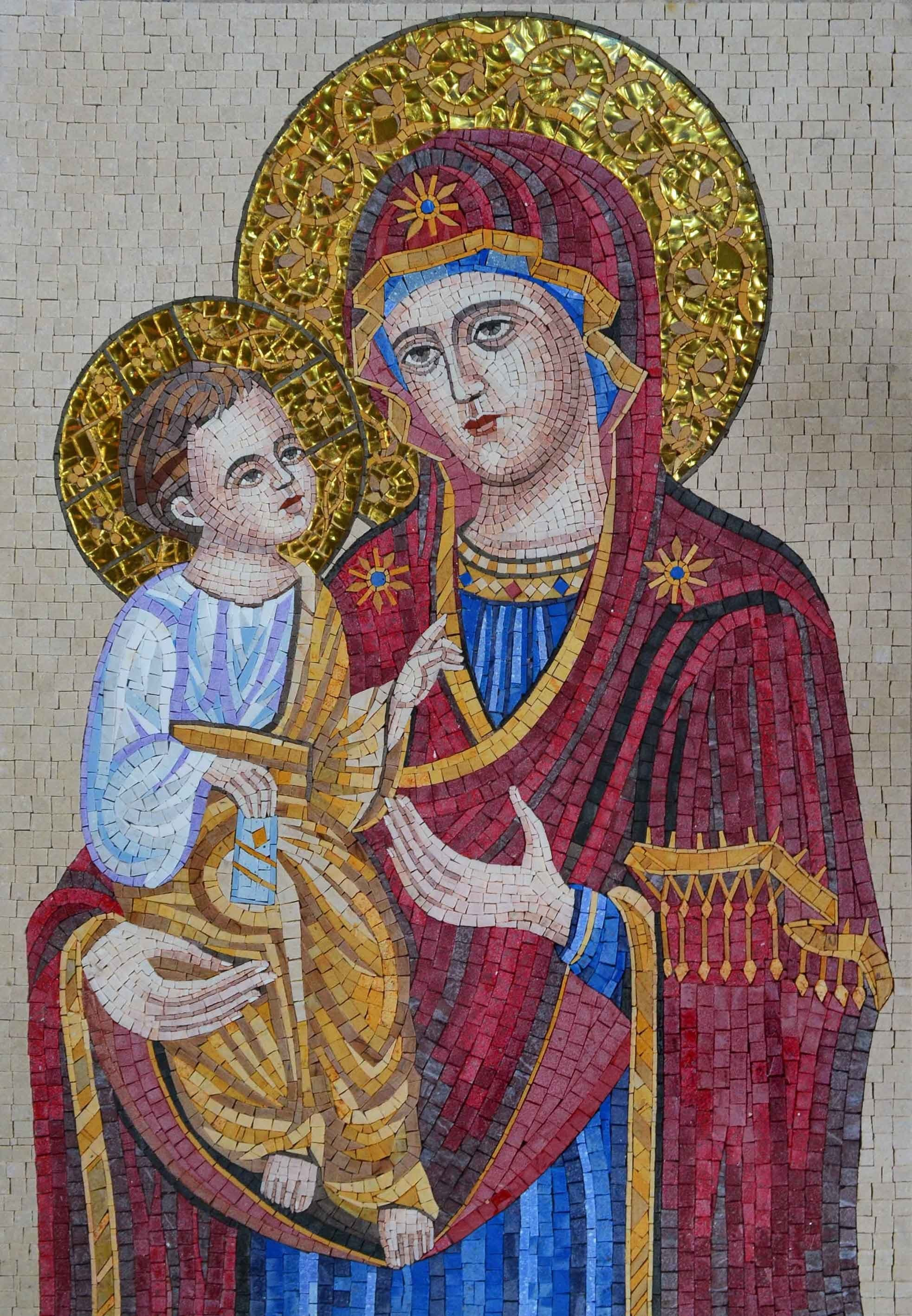 Mosaic Icon Majestic Virgin Mary And Jesus Pic