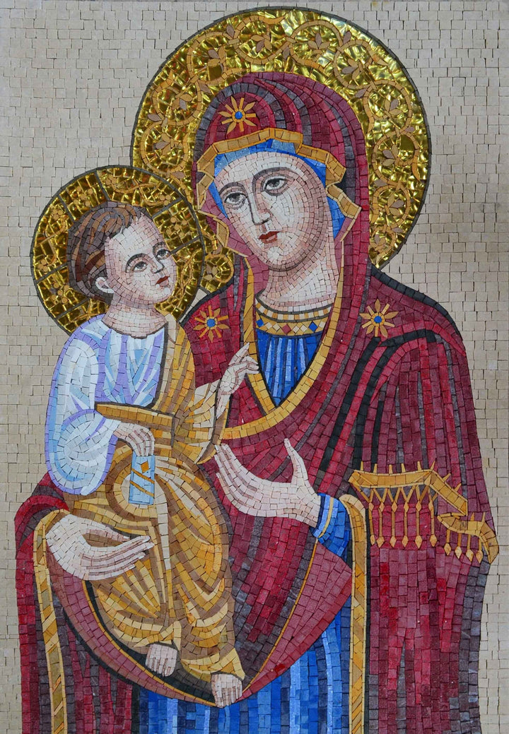 Mosaic Icon - Majestic Virgin Mary and Jesus
