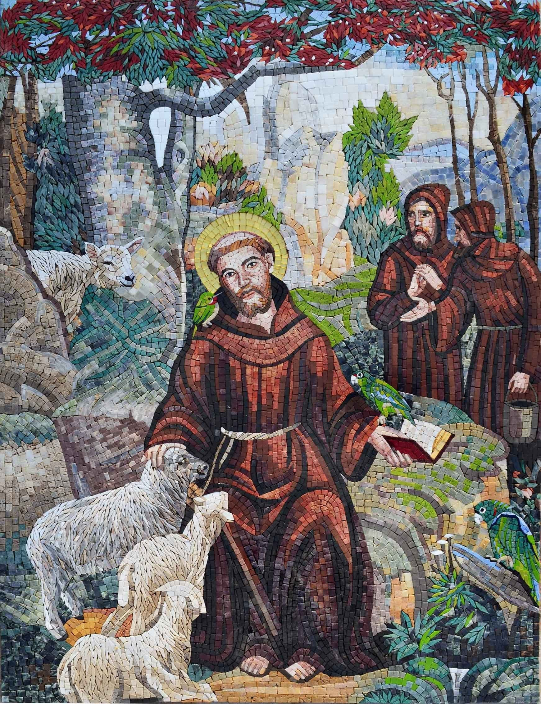Marble Mosaic Icon St Francis Of Assisi Pic