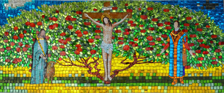 Glass Mosaic Icon - Tree of Life and Jesus' crucifixion