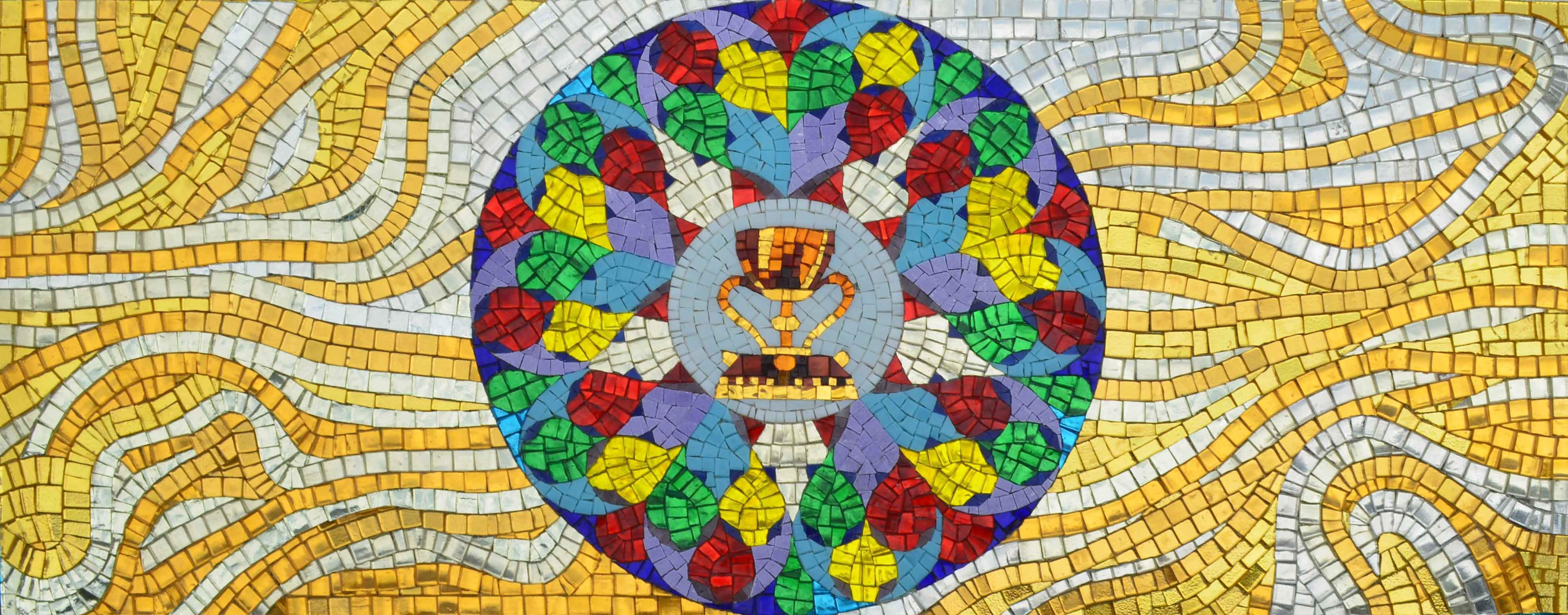 Glass Mosaic Mural The Holy Grail Pic