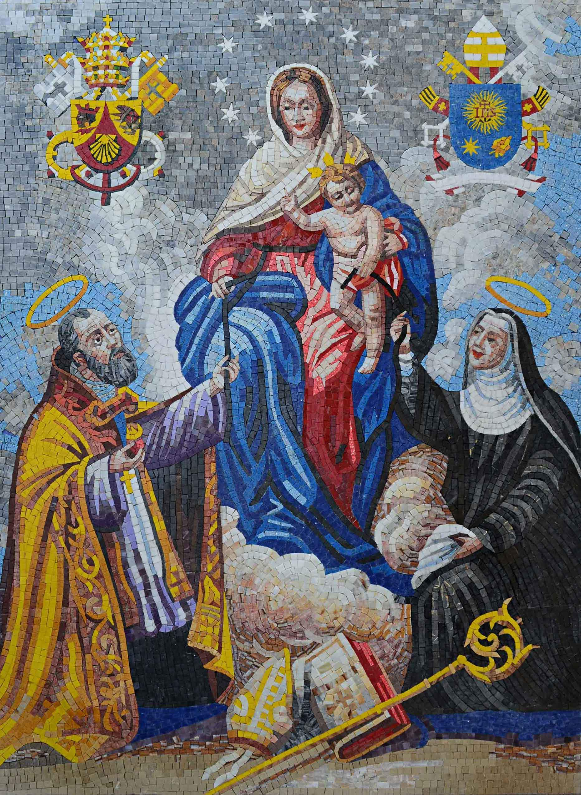 Mosaic Art Mother Of Consolation With St Austin, St Pic