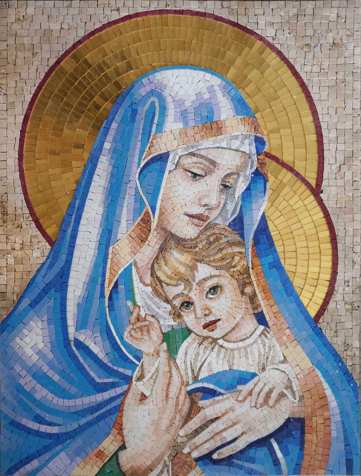Virgin Mary & Jesus - Religious Mosaic Art