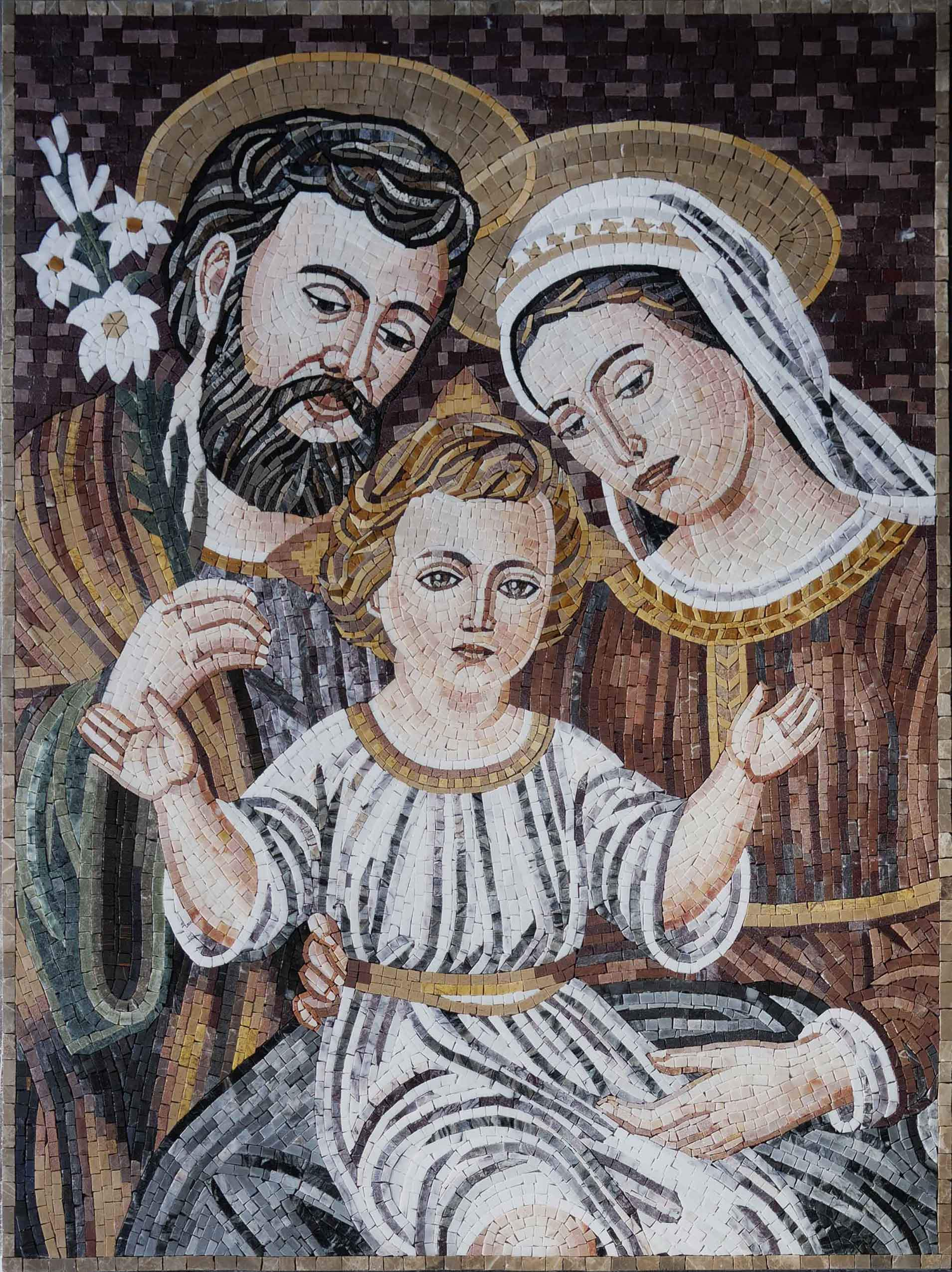 Holy Family Portrait Religious Mosaic Artwork Pic