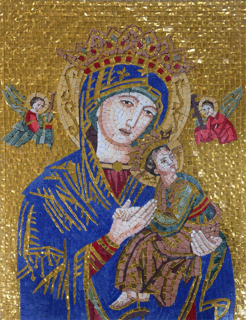 Portrait Of Virgin Mary In Royal Blue and Gold