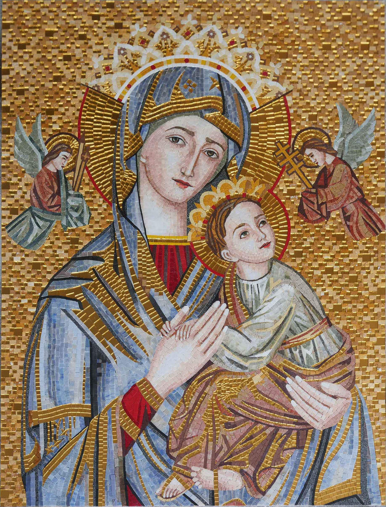 Russian Orthodox Virgin Mary and Jesus Mosaic Mural