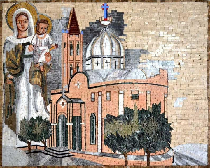 Church With Jesus and Virgin Mary Marble Mosaic