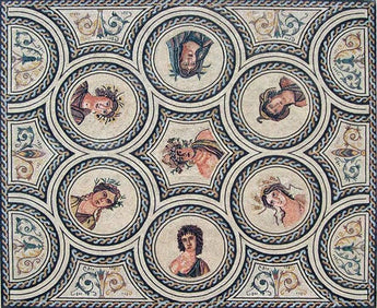 The 7 Gods Mosaic Roman Reproduction