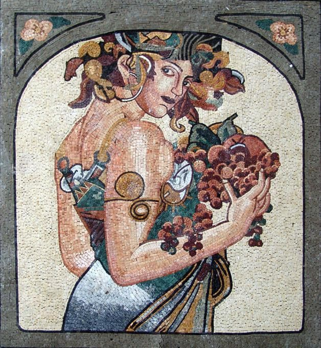 Woman carrying fruits Mosaic Mural Art