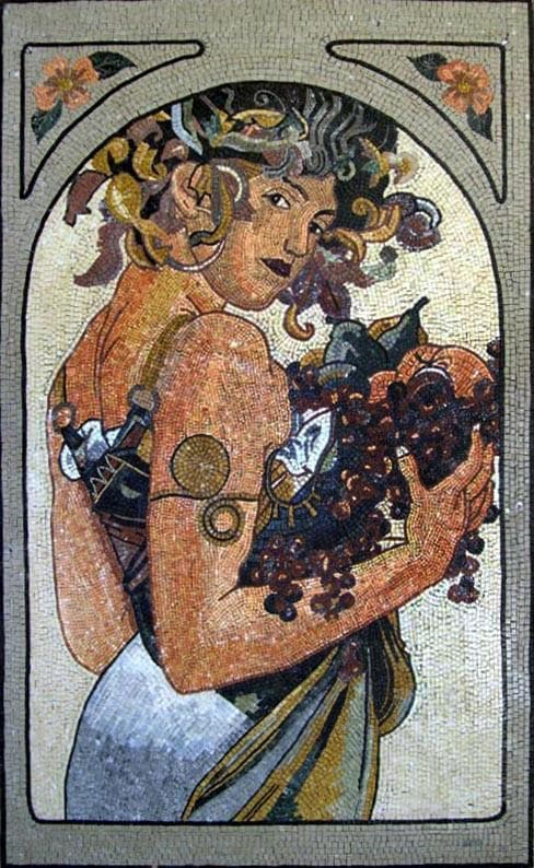 Woman With Fruits Mosaic Mural Art Pic