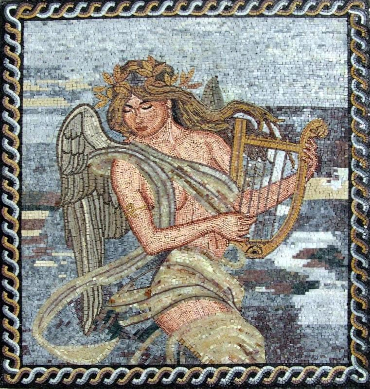 Angel With a Lyre Stone Mosaic