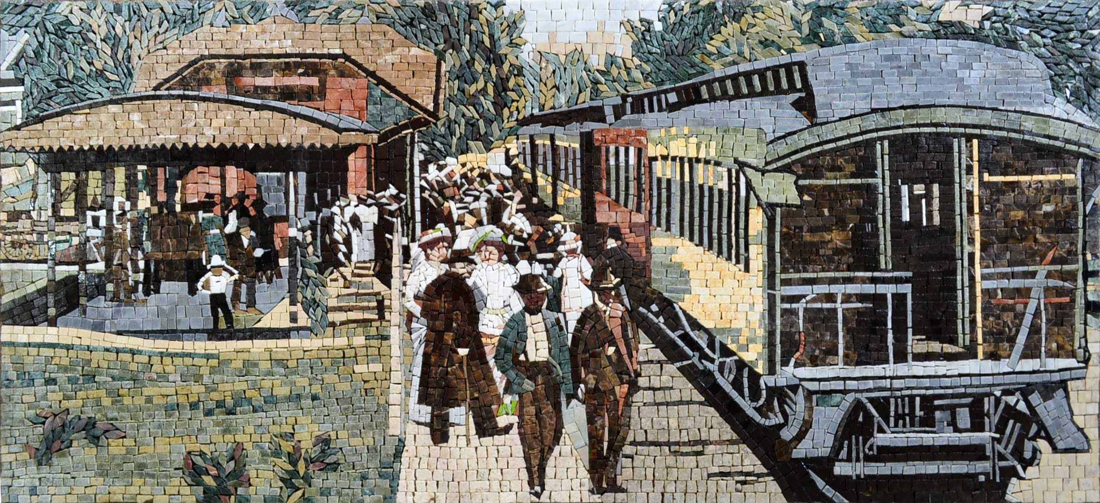 Jorge Monro Train Statoion Mosaic Art Reproduction Pic