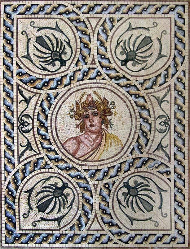 Saturn Roman God Marble Pattern Mosaics