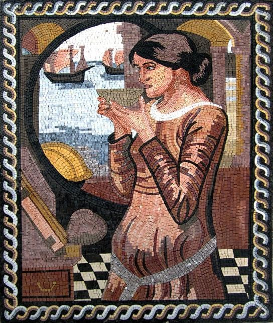 Woman Decorative Mosaic Mural Pic