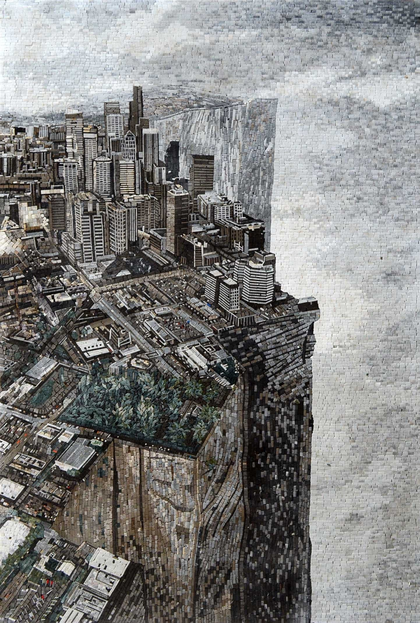 Edge of the World on a Marble Mosaic Mural
