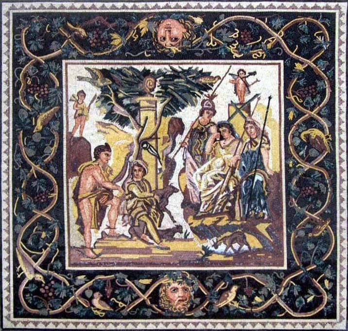 Ancient Scene of the Judgment of Paris Mosaic Design Ideas