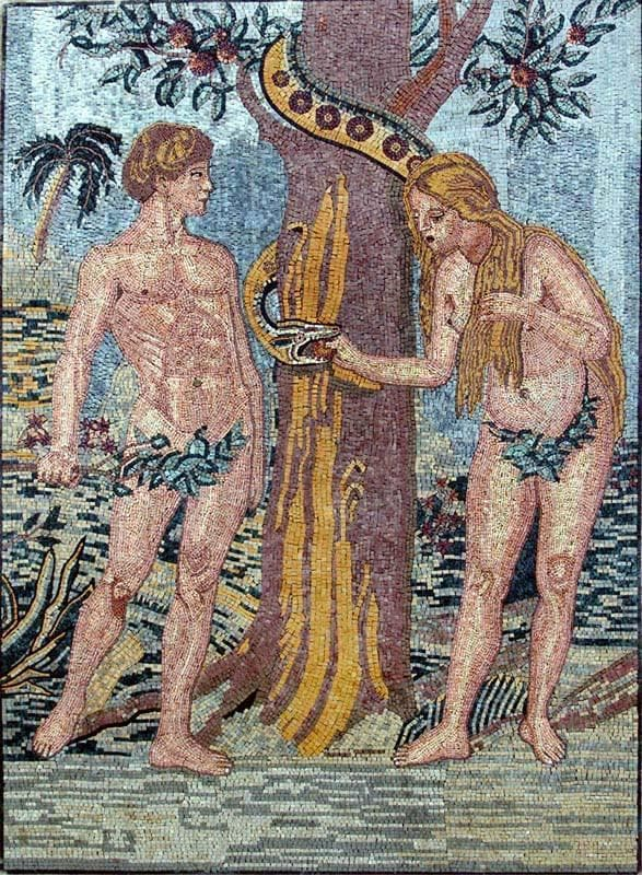 Adam And Eve Creation Scene Mosaic Marble