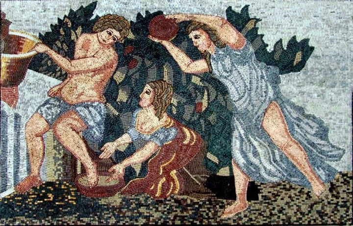 Fruit Picking Season Marble Mosaic Mural