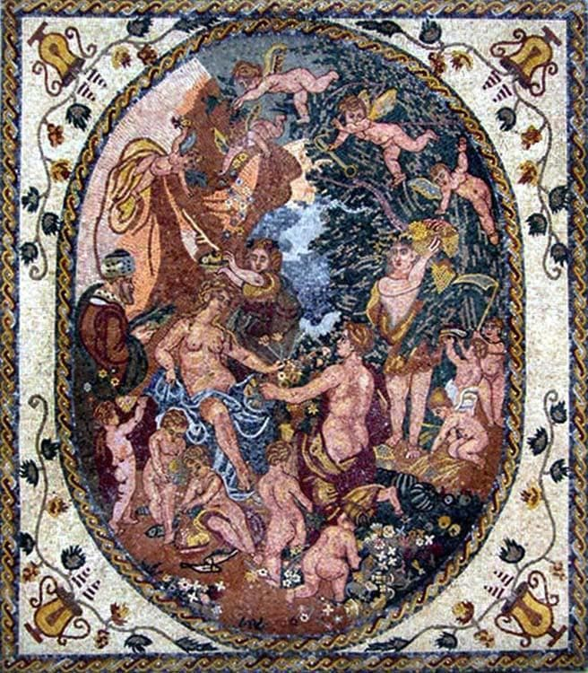 "Hendrick van Balen Bacchus And Diana"" - Mosaic Reproduction """