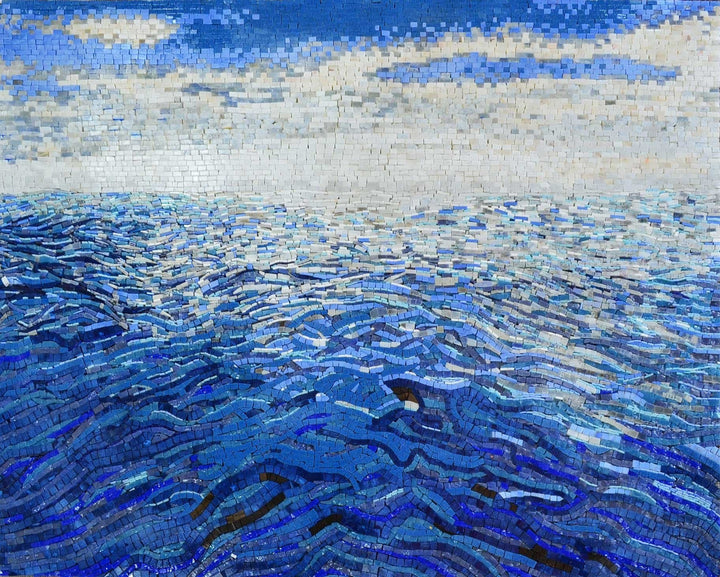 Simple Mosaic Ocean and Sky Art