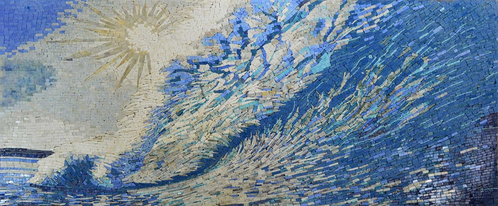 Abstract Mosaic Art Of Ocean And Waves