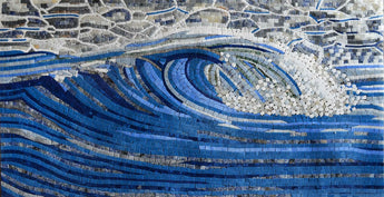 Detailed Wave Design Marble Mosaic