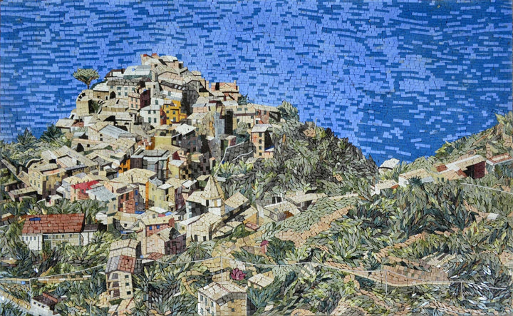 Crowded Village by the sea in Marble Mosaic Landscape