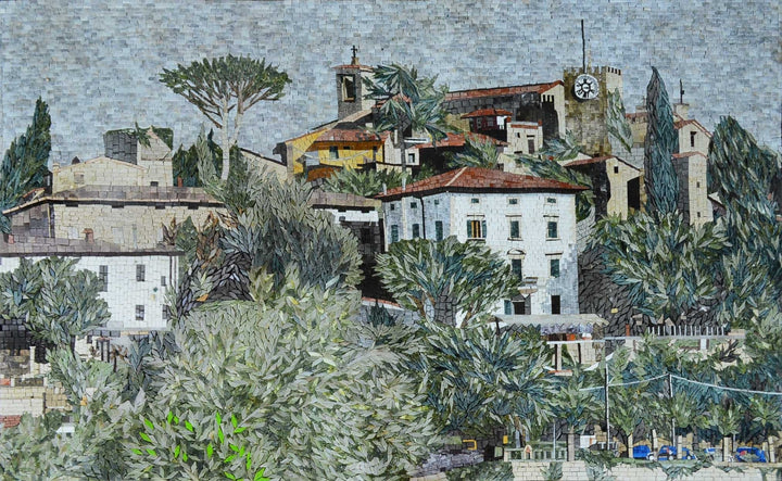 Green Village in Marble Mosaic Landscape