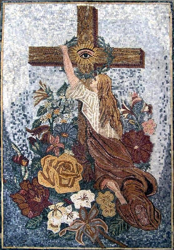 The Eye Marble Religious Mosaic Mural