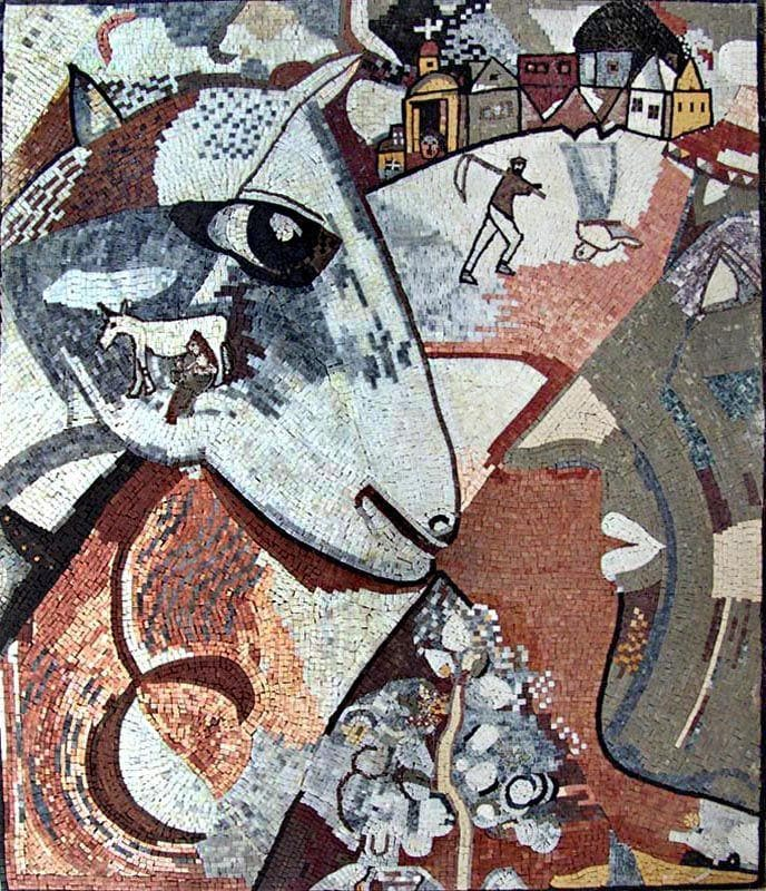 I and The Village - Marc Chagall Mosaic Reproduction